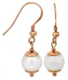 JwL Luxury Pearls Stříbrné perlové náušnice zlacené růžovým zlatem JL0235