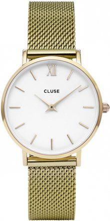 Cluse Minuit Mesh Gold/White CL30010