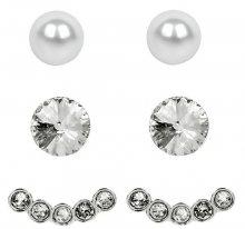 Levien Náušnice Set Ear Cuff 4 v 1 Silver Crystal White setECRh 024