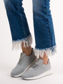 Komfortní dámské  tenisky šedo-stříbrné bez podpatku
