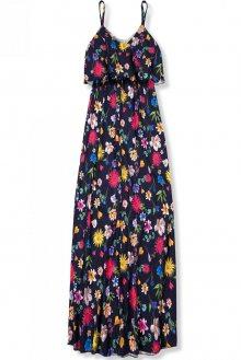 Tmavě modré maxi květinové barevné šaty