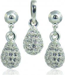 MHM Souprava šperků Kapka M4 Crystal 3401 (náušnice, řetízek, přívěsek)