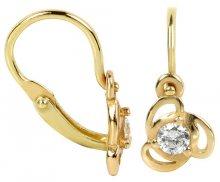 Brilio Dětské zlaté náušnice s čirým krystalem 236 001 00950 - 0,80 g