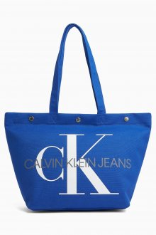 Calvin Klein modrá taška Bottom Tote Monogram Nautical Blue
