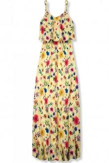 Žluté maxi květinové barevné šaty