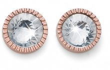 Oliver Weber Růžově zlacené náušnice s krystalem Joy 22786RG
