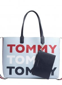 Tommy Hilfiger modrá taška Iconic Tommy Tote Tommy Print