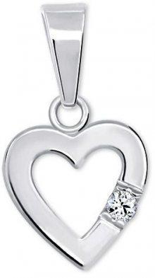Brilio Silver Romantický přívěsek Srdce s krystalem 446 001 00367 04 - 0,57 g