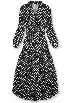 Černo-bílé puntíkované midi šaty