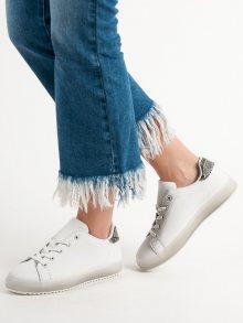 Trendy bílé  tenisky dámské bez podpatku