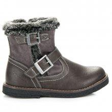Krásné šedé kotníkové boty s ohrnutým kožíškovým lemem