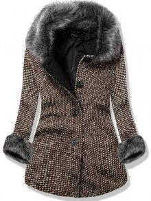 Hnědý vlněný kabát na knoflíky