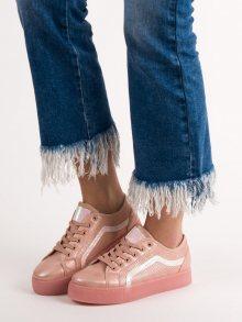 Luxusní dámské  tenisky růžové bez podpatku