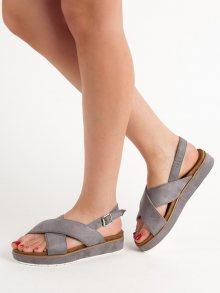 Trendy dámské  sandály šedo-stříbrné bez podpatku