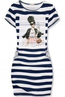 Modro-bílé pruhované šaty COCO X.