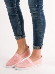 Exkluzívní dámské růžové  tenisky bez podpatku