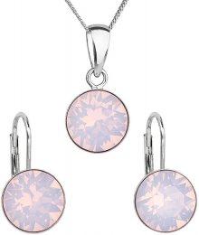 Evolution Group Stříbrná souprava šperků 39140.7 rose opal (náušnice, řetízek, přívěsek)