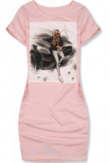 Pudrově růžové šaty Girl & car