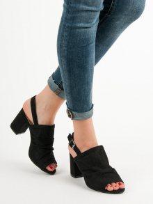 Výborné  sandály černé dámské na širokém podpatku