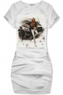Bílé šaty Girl & car