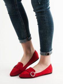 Komfortní  mokasíny červené dámské bez podpatku