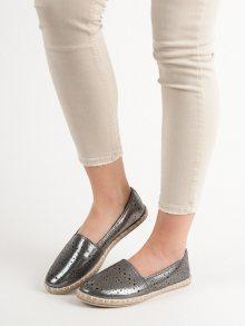 Designové dámské šedo-stříbrné  baleríny bez podpatku