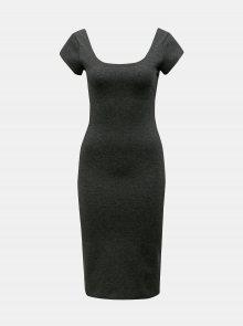 Tmavě šedé žíhané pouzdrové šaty ZOOT