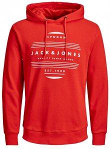 Jack&Jones Pánská mikina Rart Chapo Sweat Hood Fiery Red Reg M