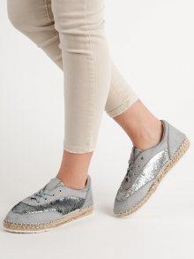 Klasické  polobotky dámské šedo-stříbrné bez podpatku