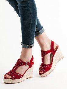 Trendy  sandály červené dámské na klínku