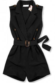 Černý elegantní overal s páskem