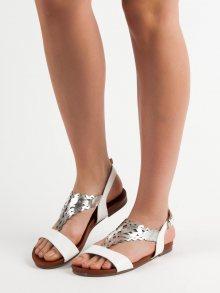 Trendy bílé  sandály dámské bez podpatku