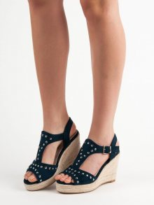 Trendy modré  sandály dámské na klínku