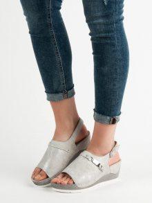 Módní dámské  sandály šedo-stříbrné na klínku