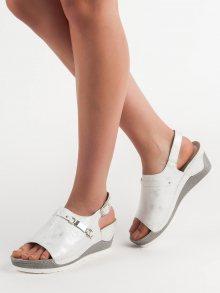 Originální  sandály bílé dámské na klínku