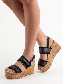 Originální černé  sandály dámské na klínku