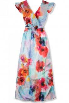 Pestrobarevné maxi šaty s květinami