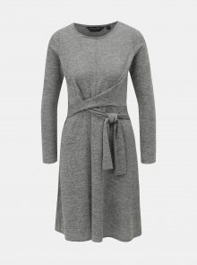 Šedé svetrové žíhané šaty se zavazováním Dorothy Perkins