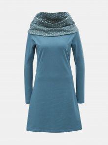 Světle modré šaty s dlouhým rukávem a vzorovaným límcem Tranquillo Thallo