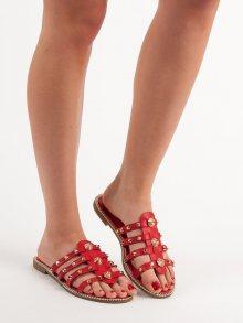 Trendy  nazouváky červené dámské bez podpatku