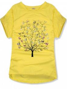Žluté oversized tričko s potiskem