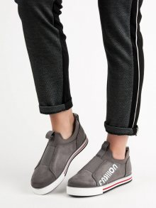 Klasické dámské  tenisky šedo-stříbrné bez podpatku