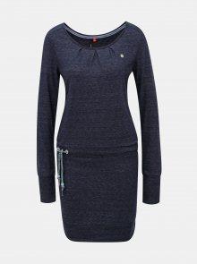 Tmavě modré žíhané šaty s dlouhým rukávem a zavazováním Ragwear Alexa