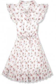 Bílé letní květinové šaty