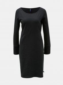 Černé šaty s rozparkem na rukávech Tranquillo Hemera