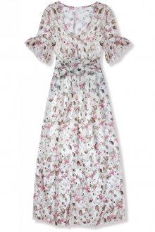 Bílé maxi šaty s květinami Lussy