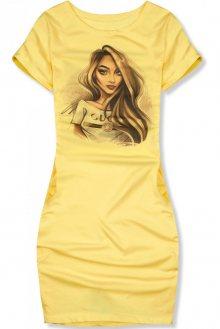 Žluté ležérní šaty s ilustrovaným potiskem