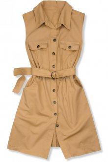 Béžové šaty s páskem