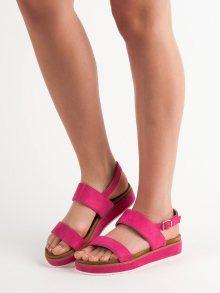 Klasické dámské  sandály růžové bez podpatku