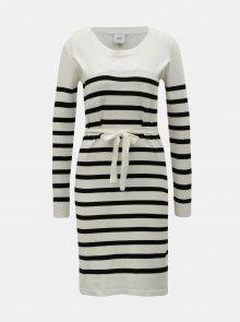 Černo-krémové pruhované kojicí svetrové šaty Mama.licious Newanga